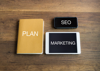 Notebook tablet and mobile for marketing SEO planning