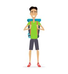 Hiker Traveler Vector Illustration