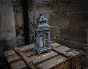 Old lantern in the ancient European city