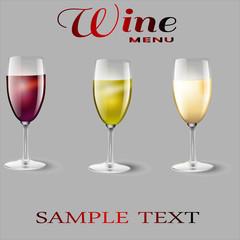 Винное меню, винная карта, винодельня, бокалы с вином
