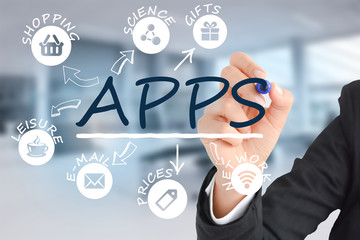 Develop mobile devices apps technology concept