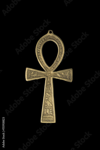 quotegyptian symbol of life ankh isolated on blackquot stock