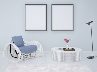 Mock up poster frames background with armchair and coffee table.