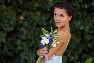 Beautiful woman with a flowers