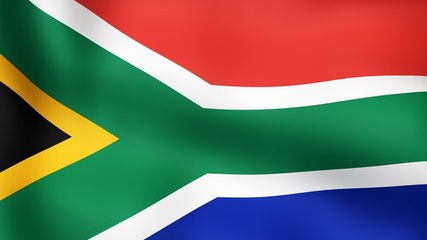 Flag of South Africa, fluttering in the wind. 3D rendering.