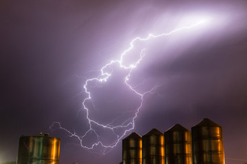 Idaho Thunderstorm Storage Silos Electrical Storm Lightning Strike