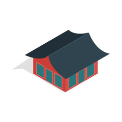 Traditional korean house icon in isometric 3d style isolated on white background
