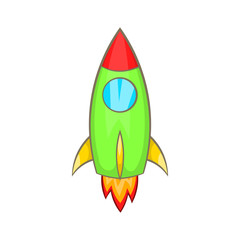 Rocket icon in cartoon style isolated on white background. Fly symbol