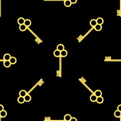 Yellow Keys Isolated on Black Background. Seamless Gold Key Pattern