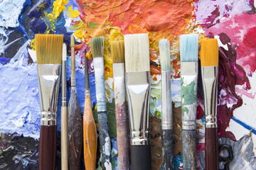 Various Paintbrushes on a Palette.