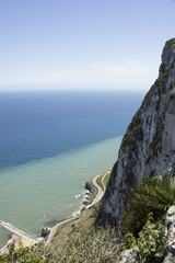 Steep cliff at the top of the rock of Gibraltar