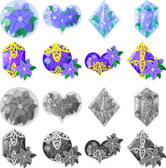 The cute icons of purple flower objects such as crystals or jewels and etc