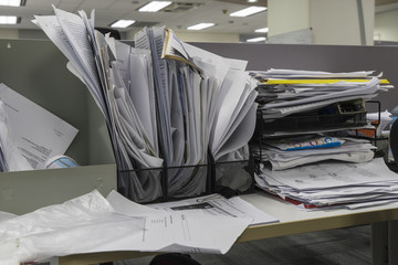 many documents on office