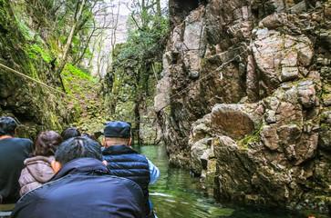 三段峡の猿飛渡舟 峡谷 広島県