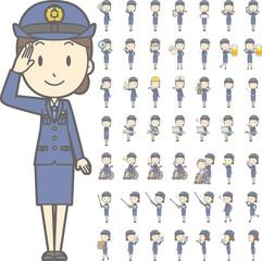 制服を着た警察官の女性vol.2(車椅子・指示棒・PCなど, 様々な表情やポーズのイラストをセット)