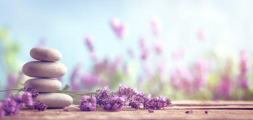 Spoed Fotobehang Lavendel Spa still life