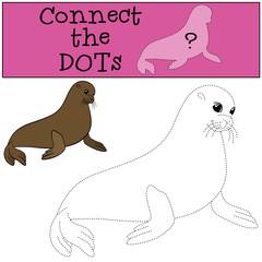 Educational game: Connect the dots. Little cute fur seal.