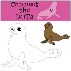 Educational game: Connect the dots. Little cute baby fur seal.