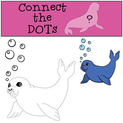 Educational game: Connect the dots. Little cute baby seal.