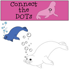 Educational game: Connect the dots. Little cute seal swims.