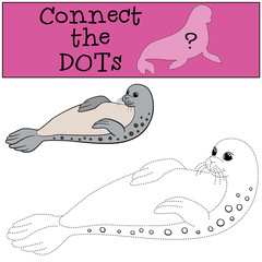 Educational game: Connect the dots. Little cute spotted seal.