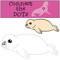 Educational game: Connect the dots. Little white-coated baby fur seal