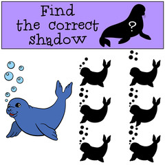 Educational game: Find the correct shadow. Little cute baby seal