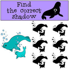 Educational game: Find the correct shadow. Mother seal and baby.
