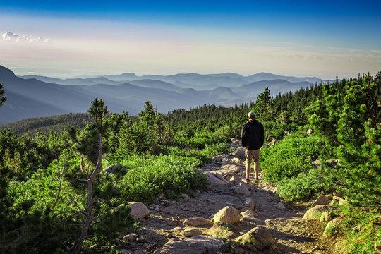 Hiker, Rocky Mountain National Park, Colorado, USA