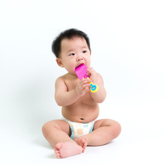 Asian baby wearing diaper