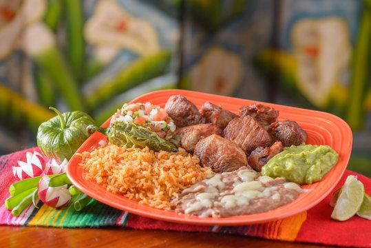 Traditional Mexican food carnitas