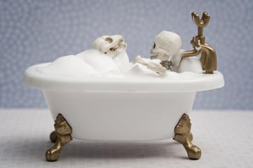 Skeleton kid and skeleton dog getting bath