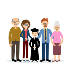 Big family with the child graduate