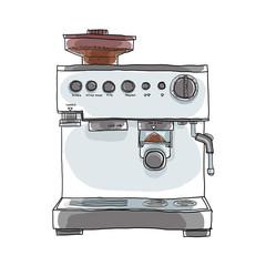 Coffee maker hand drawn art illustration