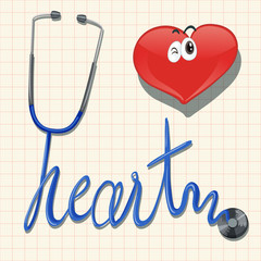 Stethoscope and the word heart