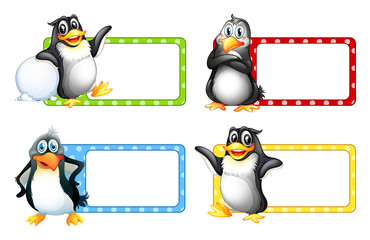 Square labels with cute penguins