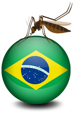 Brazil flag on ball and mosquito