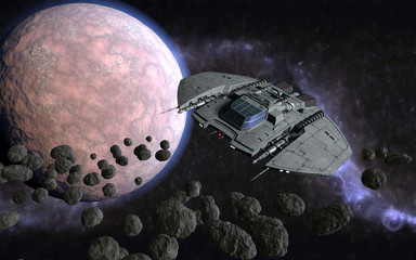 3d cosmic illustration with spaceship traveling through space