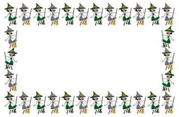 Wall Mural - A witch with a broom. Horizontal decorative frame.Vector clip art.