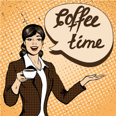 Beautiful woman drinks coffee vector illustration in retro comic pop art style.