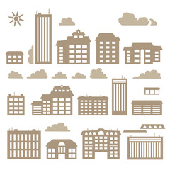 Silhouettes of buildings.