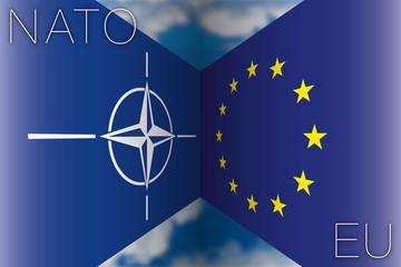 nato vs european union flags