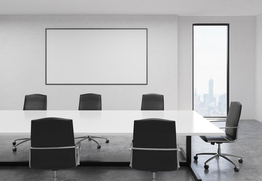 Concrete conference room with whiteboard