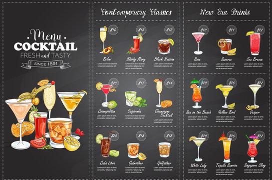 Front Drawing horisontal cocktail menu design