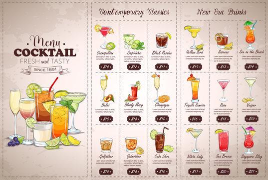 Front Drawing horisontal cocktail menu