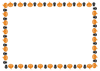 Horizontal frame with skulls and pumpkins. Vector clip art.