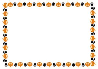 Horizontal frame with skulls and pumpkins. Vector clip art.