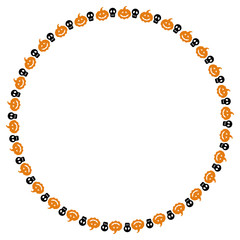 Round frame with skulls and pumpkins. Vector clip art.
