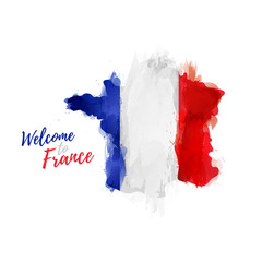 Symbol, poster, banner France. Map of France with the decoration of the national flag. Style watercolor drawing. France map with national flag. Vector