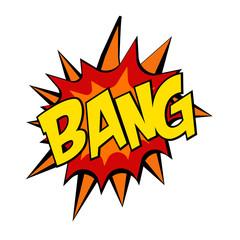 retro cartoon explosion pop art comic bang letter. Vector